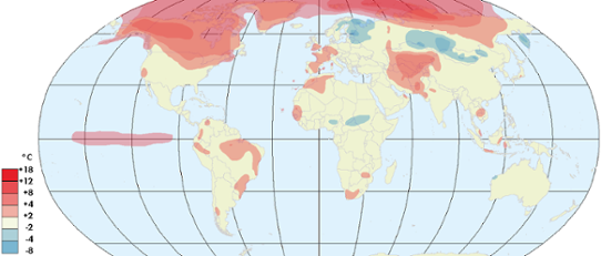 Global temperaturavvikelse januari 2016