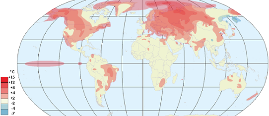 Global temperaturavvikelse februari 2016