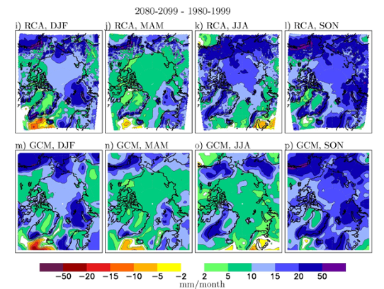 The change in seasonal precipitation for an ensemble of regionally downscaled projections.
