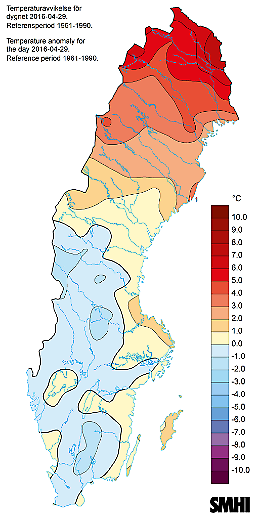 Temperaturavvikelse för 29 april 2016