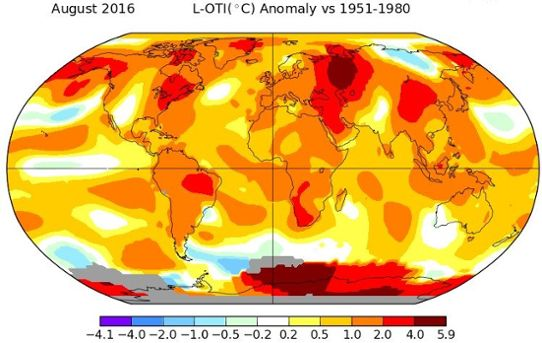 Global temperaturavvikelse augusti 2016