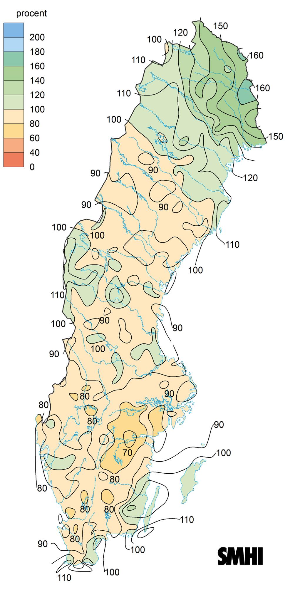 Avvikelse för nederbörd 2016