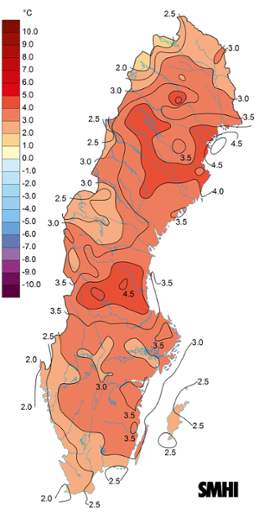 Medeltemperaturens avvikelse från det normala under februari 2017.