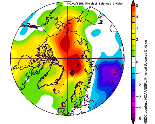 Arctic Air Temperature Difference 1 okt 2016 - 28 feb 2017