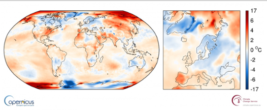 Global temperaturanomali i april 2017