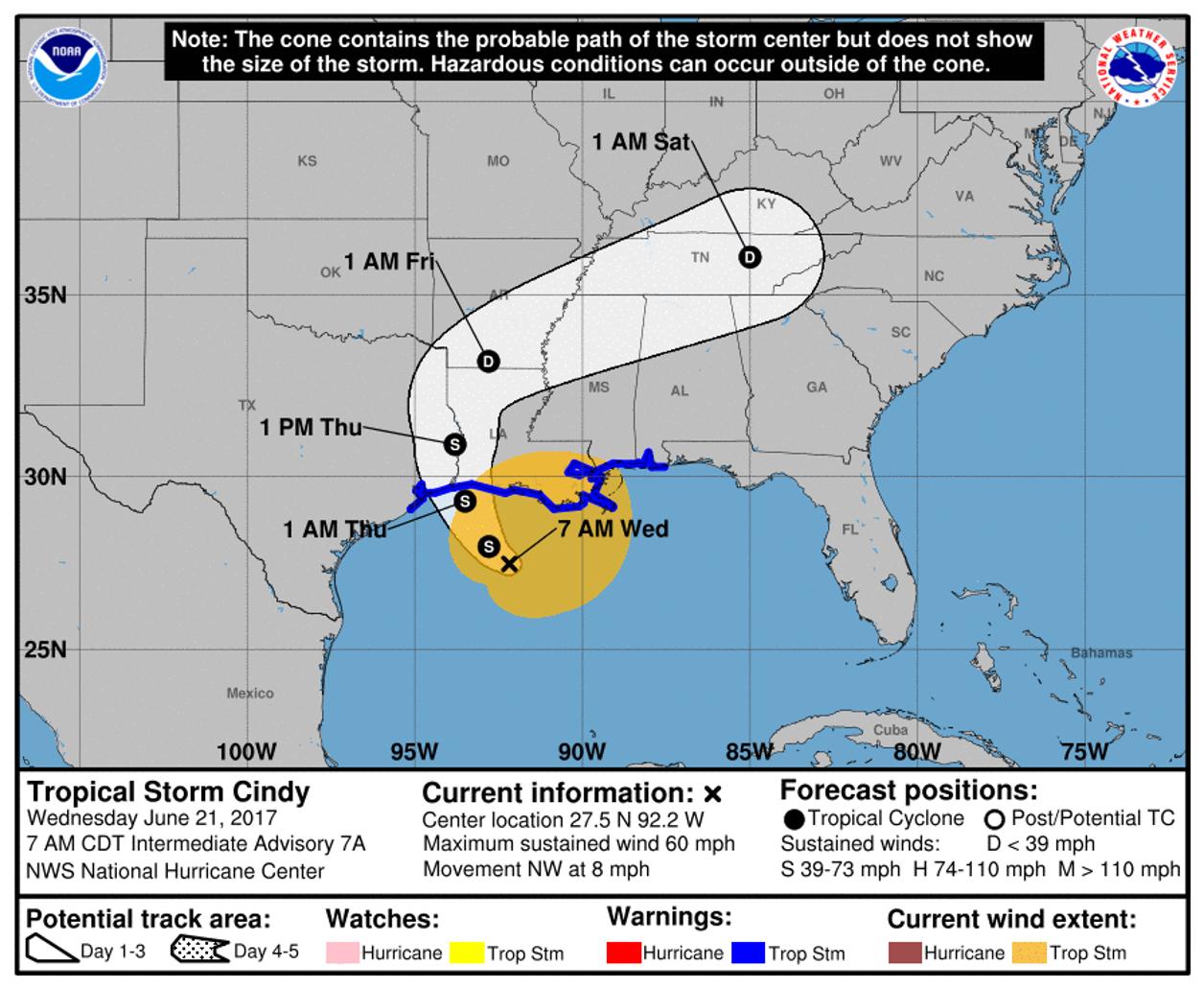 Karta Usa Sjoar.Tropiska Stormen Cindy Pa Vag Mot Sodra Usa Smhi