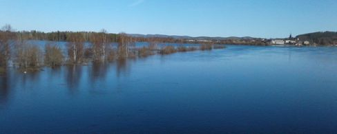 Springtime flooding in northern Sweden