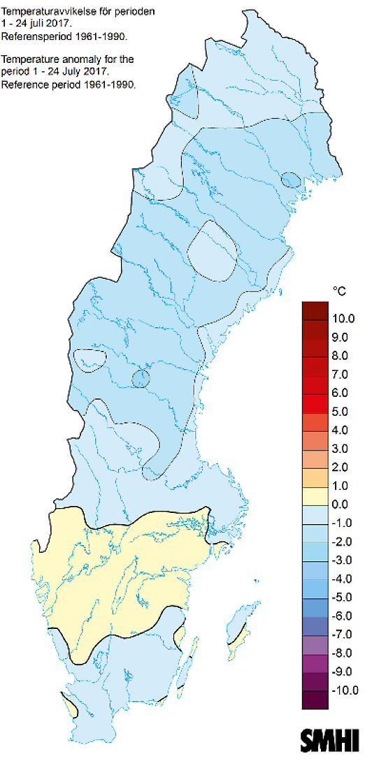 Avvikelse från normal medeltemperatur den 1-24 juli 2017.