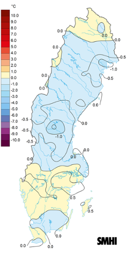 Medeltemperaturens avvikelse från det normala under juli 2017.