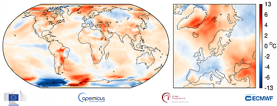 Global temperaturanomali i september 2017