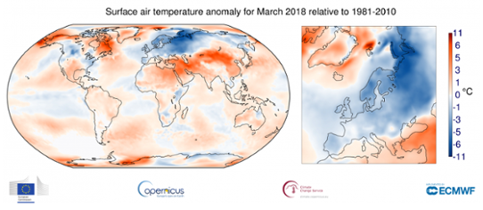 Global temperaturanomali i mars 2018