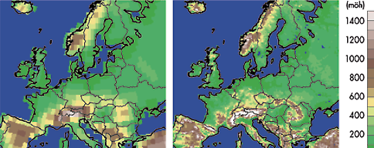 Comparison of resolytion in a calclation model over Europe.