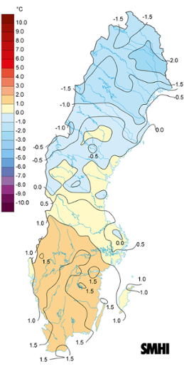 Medeltemperaturens avvikelse från det normala under maj 2017.