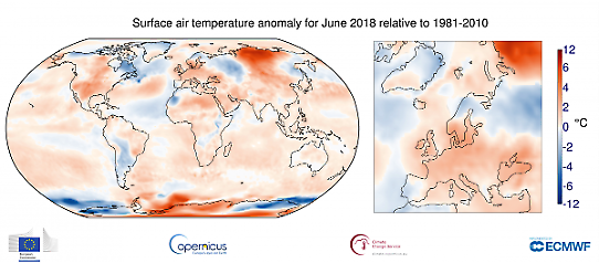 Global temperaturanomali i juni 2018