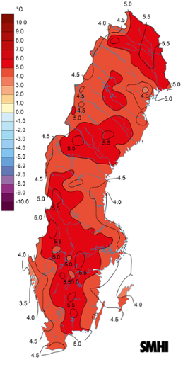 Medeltemperaturens avvikelse från det normala under juli 2018.