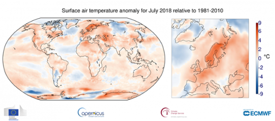 Juli 2018 - Global temperaturanomali