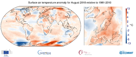 Global temperaturanomali i augusti 2018