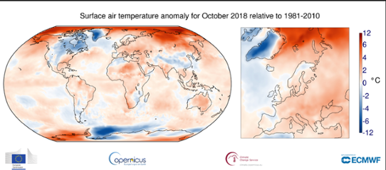 Global temperaturanomali i oktober 2018