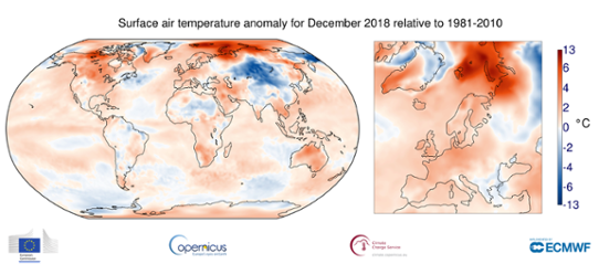 Global temperaturanomali i december 2018