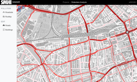 Urban vehicle emissions presented in the SIMAIR web interface.