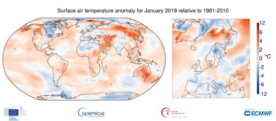 Global temperaturanomali i januari 2019