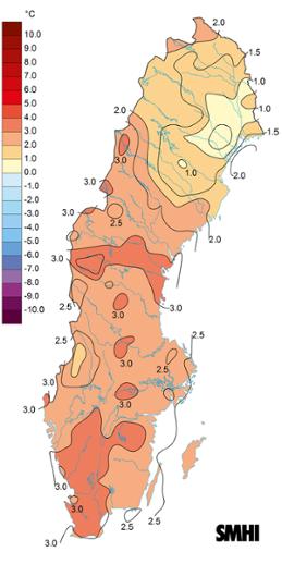 Medeltemperaturens avvikelse från den normala, vintern 2019.