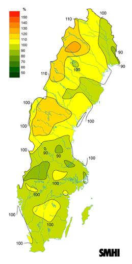 Byvindens avvikelse från det normala (1996-2015) under vintern 2019.
