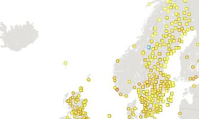 Europakarta med utmärkta mätstationer som ingår i Weather observation website