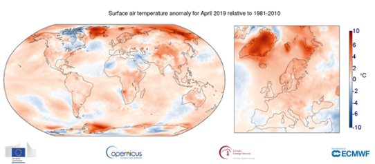 Global temperaturanomali i april 2019