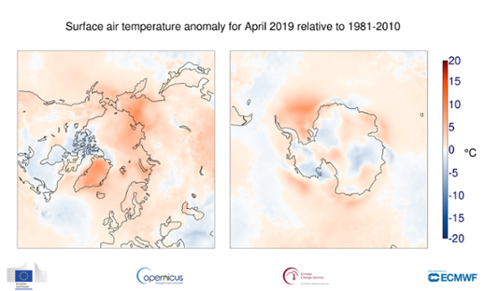 Temperaturanomali i polarområdena i april 2019