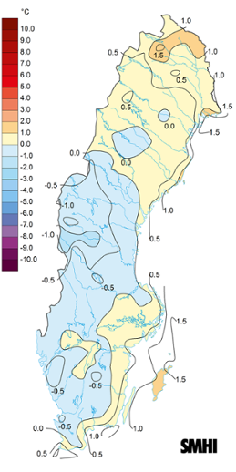 Medeltemperaturens avvikelse från det normala under maj 2019.