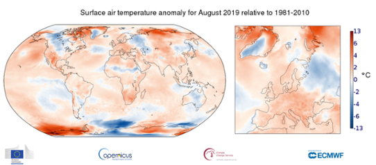 Global temperaturanomali i augusti 2019