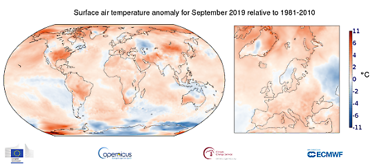 Global temperaturanomali i september 2019