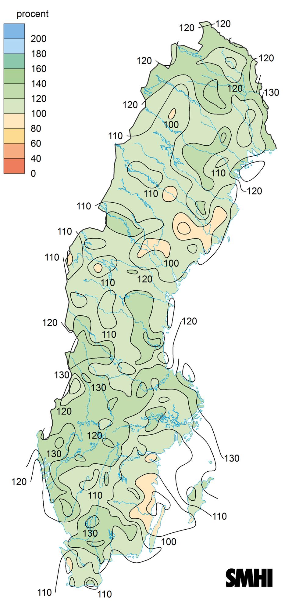 Avvikelse för nederbörd 2019
