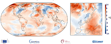 Global temperaturanomali i november 2019