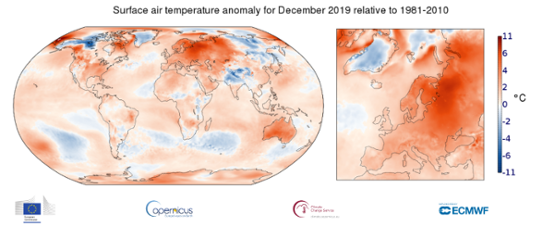 Global temperaturanomali i december 2019