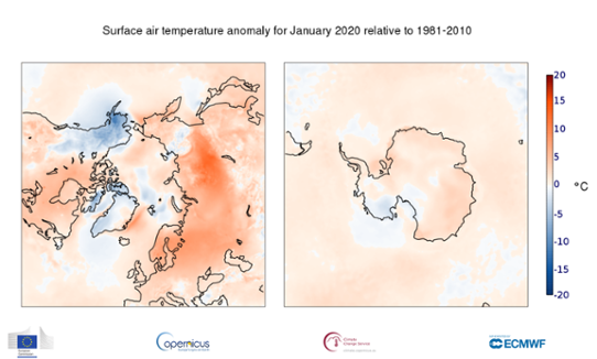 Temperaturavvikelse i polarområdena i januari 2020