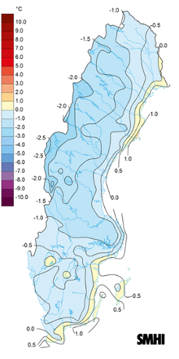 Medeltemperaturens avvikelse från det normala under maj 2020 (normalperiod 1961-1990).