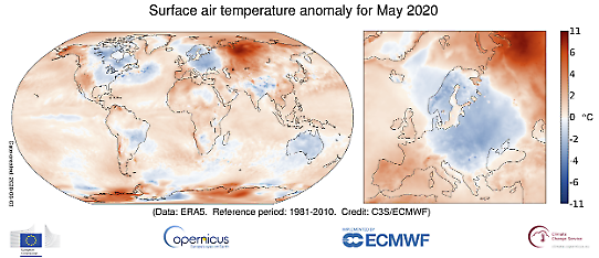 Maj 2020-Global temperaturanomali