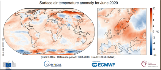Global temperaturanomali i juni 2020