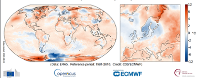 Global temperaturanomali juli 2020