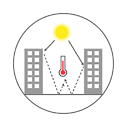 Illustration showing how heat is reflected in hard surfaces in cities.