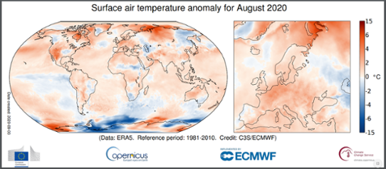 Global temperaturanomali i augusti 2020
