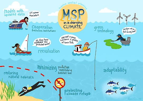 Malva Crona's illustration capturing Marine Spatial Planning and Climate Change