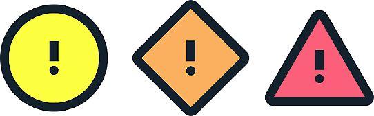 De tre varningssymbolerna i det förnyade vädervarningssystemet