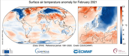 Global temperaturanomali i februari