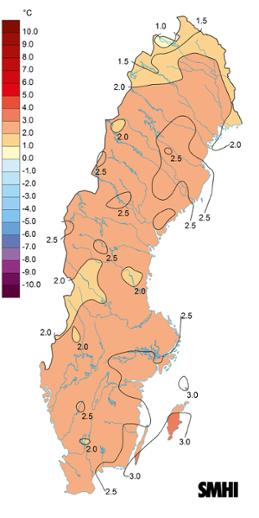 Medeltemperaturens avvikelse från det normala under juli 2021.