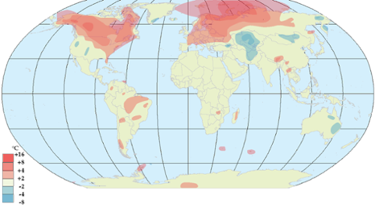 Global temperaturanomali i december 2011.