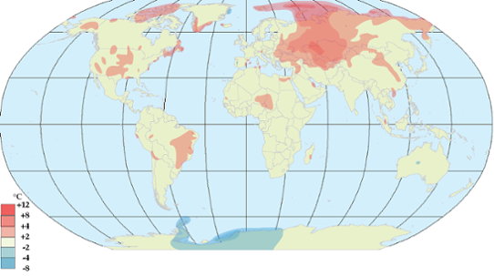 Global temperaturanomali i april 2012.