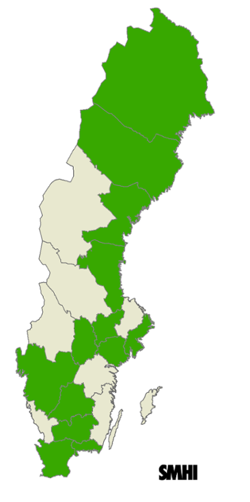 Analyzes of the future climate have been conducted in the counties in marked with green.